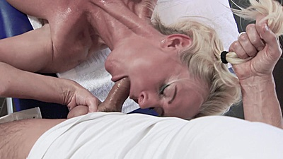 Blonde milf Lana Vegas sucking off masseuse dick while held by the pony tail