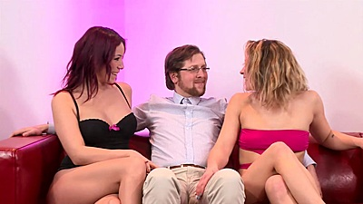 Blonde and redhead Natalie Hot and Honey Diamond in nerdy threesome