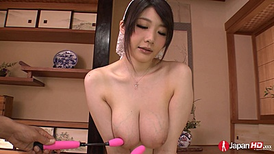 Big chest asian Rie Tachikawa has vibrators applied to her arousal zones