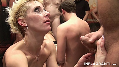 Corrupt gang bang whore Jil Thomson and Curly Ann getting facial sperm from many cocks
