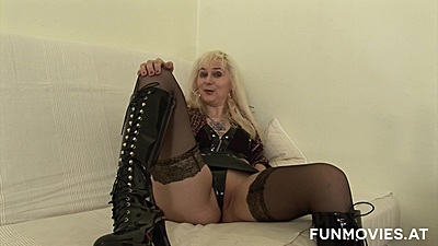 Stockings mature blonde Amanda whipping out a dildo to fuck her lonely vagina