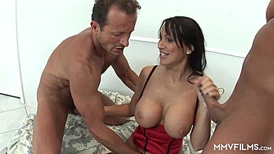 Big boobs lingerie Mandy Bright jerking cock with hand and fucked threesome