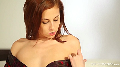 Gorgeous redhead Antonia Sainz solo stripping and touching