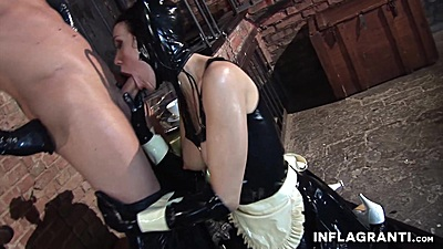 Female latest whore side view oral Black Lady deep throats and gets laid in fetish are