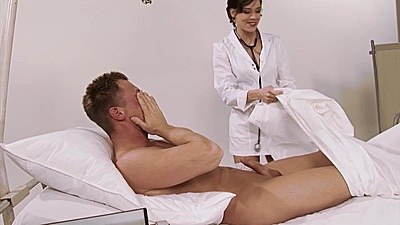 Feisty doctor gets patient naked and sucks him