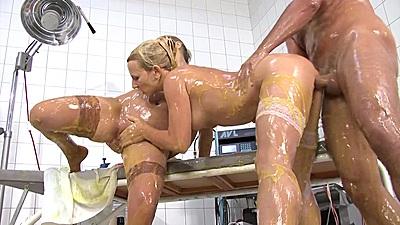 Two slimy nurses doing a very gonzo hospital scene