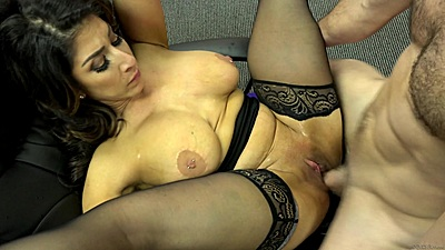 Fucking a big chested latina milf Raven Hart right at the office
