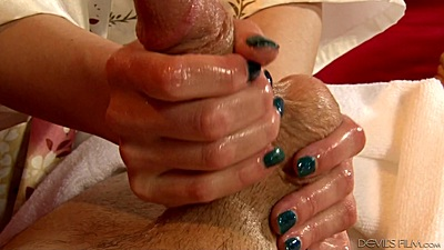 Sexy handjob and lubed up massage with asian Audrey Noir