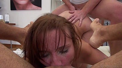 Deep throat whore Chelsy eats mans ass while being fucked in the ass herself