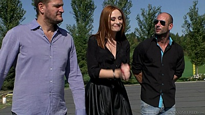Redhead outdoors going to meet her slave friend Eva Berger and Jenny Smart