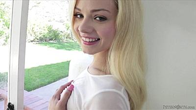 Exquisite little cutie Elsa Jean gets nude by the window