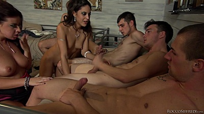Hunter Leone and Carolina Abril and Begasus  suck dick and jerk in porn graduation