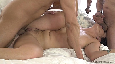 Flirting wife fucking husband and a stranger in bed Holly Heart