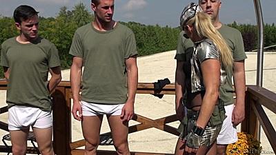 Girl checks man for whore academy outdoors