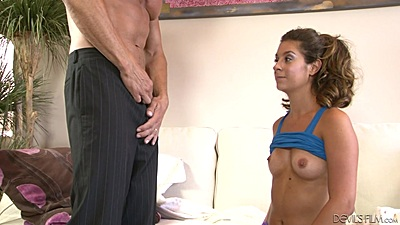 Petite breasts girl Delilah Davis deep throat skills