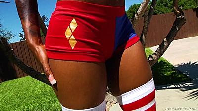 Tight ass shorts o lovely and shiny black butt Sarah Banks
