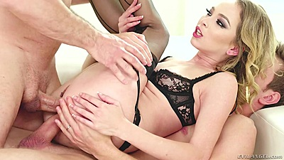 Double sex double penetration with massive stretching for whore Angel Smalls