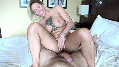 Cowgirl pov busty sex with inked blonde Harlow Harrison who likes to eat out mans ass