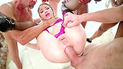 Incredible petite girl Angel Smalls having rough sex ass stretched in gang bang
