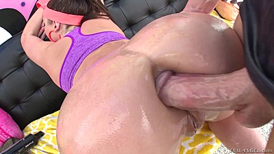 Angela White is all oiled up and ready to receive a cock in her bubble butt