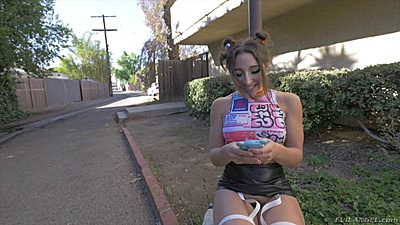 Abella Danger sexting while chilling in public then squirts all over