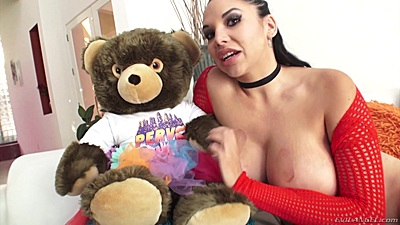 Busty latina Missy Martinez shows off her teddy bear