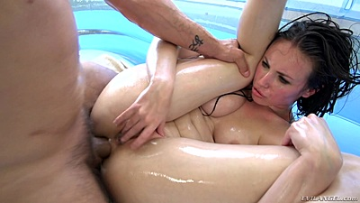 Anal frontal plowing a bit rough and hard Casey Calvert covered in oil