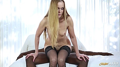 Naughty skinny small boobs white mom Nika loves to hump on black shaft
