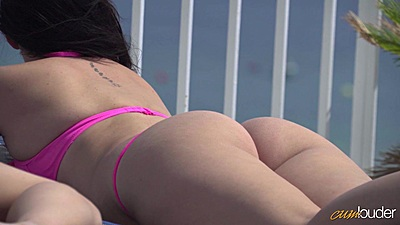 Great lesbian touching and oil massage outdoors with oil in bikini Sara May and Pamela Sánchez