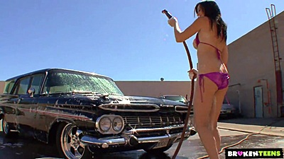 Vintage car wash with Skyla Shy getting all wet in her bikini
