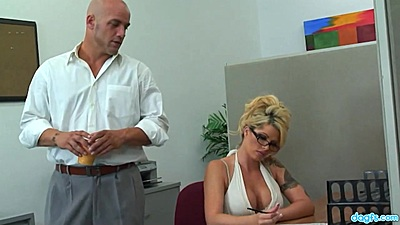 Blonde milf Brooke Haven in the office showing excellent cleavage gets eaten in cubicle