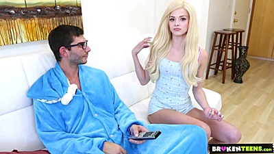 Super hot nordic teen Elsa Jean gives a huge cock a suck being the naughty babysitter