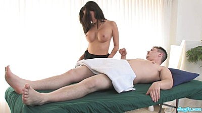 Busty Malezia giving massage with extras