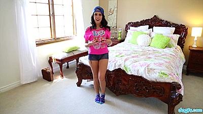 Cutie Megan Rain giving a solo striptease show in bedroom