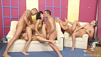 Orgy fucking with lesbians scissoring right there