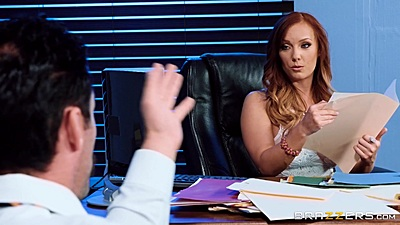Fully clothed office chat with Dani Jensen underpaid and over worked