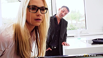 Incredible office glasses babe Sarah Vandella teasing man after first big sale