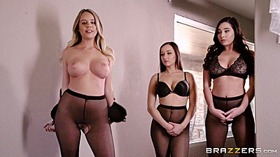 Group of nylon and bra wearing whores with Karlee Grey enter office room