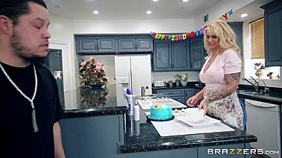 Big chested blonde mom milf Ryan Conner cooking something tasty and whipped cream on tits