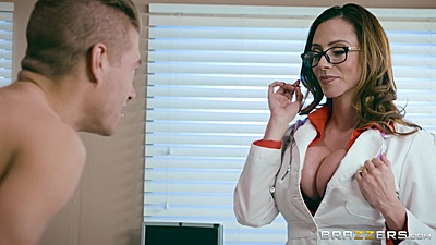 Big boobed doctor cfnm Ariella Ferrera showing cleavage and sucking rod