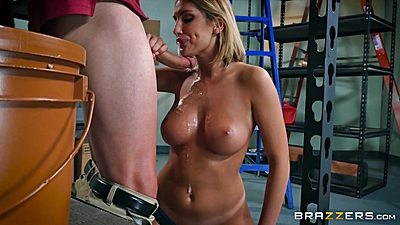 Feisty work place romance with August Ames