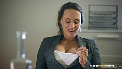 Great cleavage and under the table blowjob with Mea Melone at the office