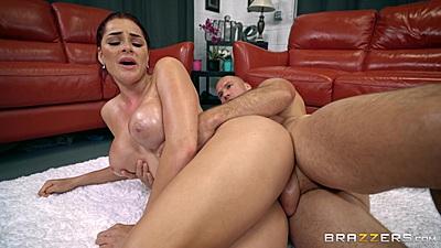 Sideways floor sex with oil and an athletes touch Skyla Novea
