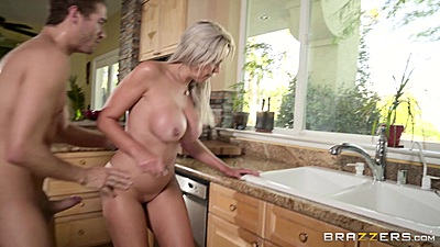 Ready to fuck on kitchen sink with happy milf blonde Nina Elle
