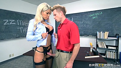 Bras and panties ravishing teacher Bridgette B sucks off her student