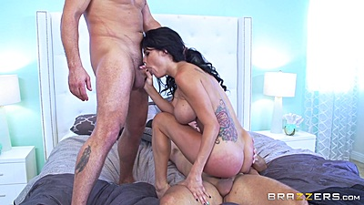 Peta Jensen riding a dick and another in her mouth