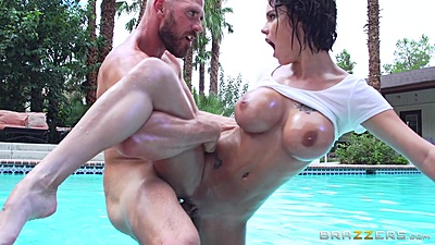 Standing fuck with oiled up firm breasted girl Peta Jensen outdoors