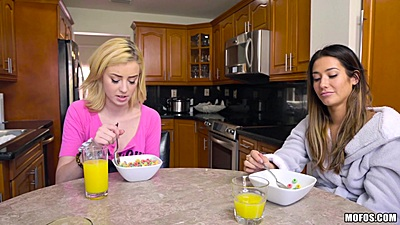 Having some cereal and talking Eva Lovia and Haley Reed
