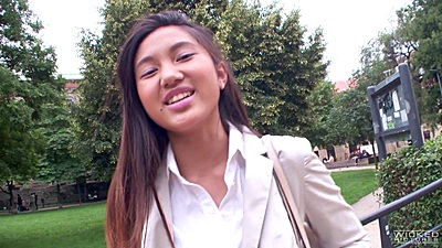 Cute asian girl Mai Thai picked up on the streets of europe