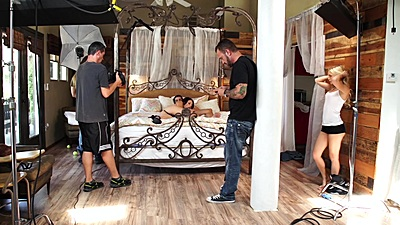 Megan Sage and Alex Grey fluffer at the porn shoot